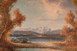 HANS WEGNER (TWENTIETH/ TWENTY FIRST CENTURY) OIL PAINTING ON CANVAS Continental lake scene with