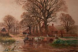 HENRY CHARLES FOX (1855/60-1929) WATERCOLOUR DRAWING Rural landscape with horse-drawn cart fording a