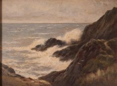 JAMES WILLIAM STAMPER (1873-1947) OIL PAINTING ON BOARD 'Llan Carew, Anglesey'rough sea breaking