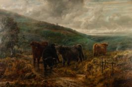 ROBERT WATSON (1865 - 1916) OIL PAINTING ON CANVAS Highland cattle in a landscape Signed and