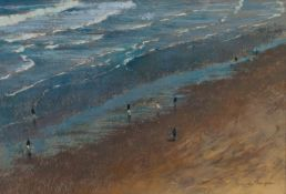 GEORGE THOMPSON (1934 - 2019) PASTEL DRAWING View from cliff top onto beach with figures walking