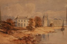 EDWARD HENRY WEHNERT (1813-1868) WATERCOLOUR DRAWING River landscape with dwelling, church and