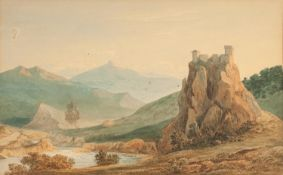 JOHN VARLEY (1778-1842) WATERCOLOUR DRAWING Continental river landscape with hill top fort and