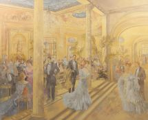 PETER MILLER (TWENTIETH CENTURY) OIL PAINTING ON CANVAS The Ritz, London (1906) Signed 40? x 50? (