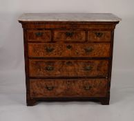 ANTIQUE FIGURED WALNUT AND OAK CHEST OF DRAWERS WITH WHITE VEINED MARBLE TOP, the caned oblong top