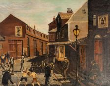 DOUG KEWLEY (1938) OIL ON CANVAS Bygone street scene with two boys boxing in makeshift ring