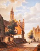 DAVID RONALD (modern) oil paintings on panel a pair pastiche Dutch street scenes Signed lower left