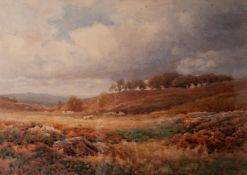 JAMES WILLIAM STAMPER (1873-1947) WATERCOLOUR DRAWING 'The Moors above Betwys-y-Coed, Feb 1922'