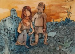 ALBERT du MESNILDOT (1922-1990) PEN AND WASH A couple in front of building surrounded by debris