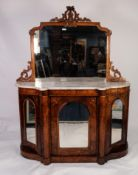 VICTORIAN MARQUETRY INLAID FIGURED WALNUT CHIFFONIER WITH WHITE VEINED MARBLE TOP, the shaped to