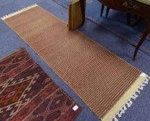 EASTERN KELIM SMALL CARPET, with centre brick red diamond shaped medallion on a plain blue field