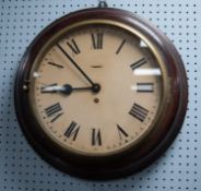 EARLY TWENTIETH CENTURY OAK CASED WALL CLOCK, the 12? Roman dial powered by a later spring driven