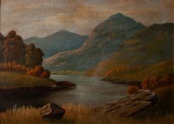 UNATTRIBUTED, EARLY TWENTIETH CENTURY OIL PAINTING ON BOARD Highland lake scene Unsigned 12 ½? x