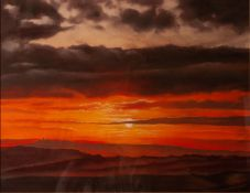 BRIAN HALTON (Wakefield) PASTEL DRAWING Landscape with sunset sky Signed and dated 1999 lowe