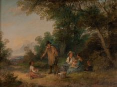 GEORGINA LARA (fl. 1862-71) OIL PAINTING ON CANVAS, A PAIR Rural scenes with figures, each signed