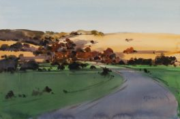 AMANDA HYATT (TWENTIETH/ TWENTY FIRST CENTURY) WATERCOLOUR Landscape with hills in the distance