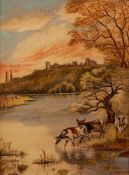 W. SHERRIN (EARLY TWENTIETH CENTURY) OIL PAINTING ON BOARD Cattle at water with a castle in the