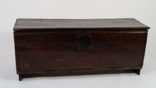 SEVENTEENTH CENTURY PLANKED OAK COFFER OF SIMPLE NAILED CONSTRUCTION, the moulded oblong top above a