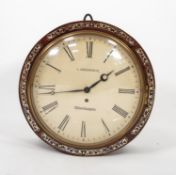 VICTORIAN MOTHER OF PEARL INLAID ROSEWOOD WALL CLOCK, SIGNED L. FREDERICK, WOLVERHAMPTON, the 12?