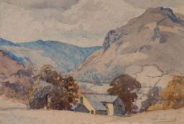 DICK YEADON (1896-1937) WATERCOLOUR DRAWING ?A Rydal Farm? Signed and dated 1928, titled to the