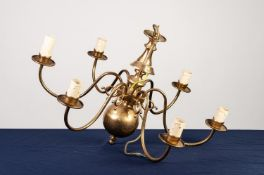 MODERN DUTCH STYLE BRASS SIX LIGHT ELECTROLIER, of typical form with scroll arms and etched glass