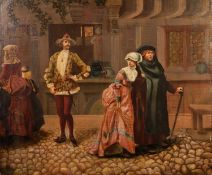 W. H. (late 19th Century) OIL PAINTING ON CANVAS LAID DOWN ON CARD 'Eugene', an interior with