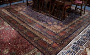 A PAIR OF GROSVENOR WILTON ALL WOOL PILE BORDERED CARPETS OF PERSIAN DESIGN, each with radiating