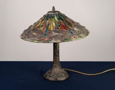MODERN TIFFANY STYLE TABLE LAMP, the patinated metal base cast with dragonflies, and the matching,