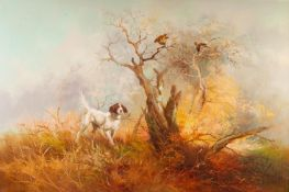 J. KINGMAN (Twentieth Century) OIL PAINTING ON CANVASA Gun-dog raising game-birds amongst