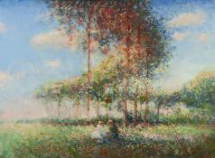 UNATTRIBUTED CONTEMPORARY ARTIST MIXED MEDIA ON PAPER French impressionist style landscape with