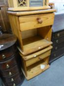 A PAIR OF PINE BEDSIDE PEDESTALS, EACH WITH A DRAWER