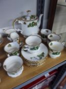 ROSINA CHINA 'YULETIDE' PATTERN CHINA TEA SET FOR SEVEN PERSONS INCLUDES; VERY GENEROUS SIZE TEAPOT,