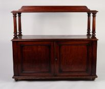 EARLY NINETEENTH CENTURY FIGURED MAHOGANY BUFFET, the moulded oblong top with short back and