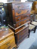 A PAIR OF ANTIQUE MAHOGANY SMALL CHESTS OF FOUR DRAWERS (CONVERTED FROM NIGHT COMMODES)