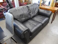 GOOD QUALITY LARGE BLACK LEATHER TWO SEATER SETTEE ON FEET