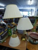 THREE TABLE LAMP WITH SHADES (3)