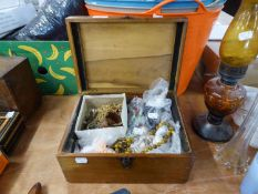 STAINED WOOD BOX CONTAINING COSTUME JEWELLERY, MAINLY BEADED NECKLACES