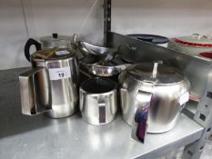OLD HALL STAINLESS WARE TEAPOT, PRESTIGE WARE ITEMS (9)