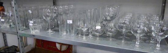 LARGE QUANTITY OF DRINKING GLASSES TO INCLUDE; WINES, TUMBLERS, CHAMPAGNE, ETC... (APPROX 90 PIECES)