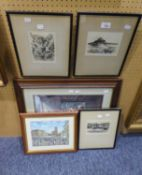 R.H. SMALLRIDGE, THREE ORIGINAL ETCHINGS, 'ST. MICHAELS MOUNT', 'CLOVELY' ETC... AND TWO COLOUR