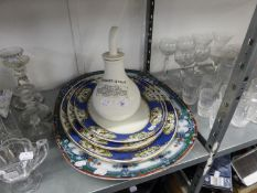 A LARGE VICTORIAN MEAT PLATE, THREE OTHER LARGE GRADUATED MEAT PLATES AND A 'DR NELSON'S INHALER (5)