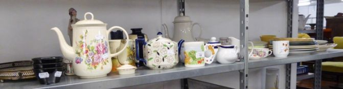 LARGE QUANTITY OF CERAMICS TO INCLUDE; WEDGWOOD, CHURCHILL, MUSTACHE CUPS, TEAPOTS ETC....