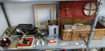 MINOR COLLECTABLES TO INCLUDE; A PAIR OF VICTORIAN COAT HOOKS, 'CORACLE' PICNIC BASKET, A LARGE DOOR