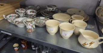 COALPORT CHINA ?INDIAN TREE? PATTERN TEA WARES, 21 PIECES AND MEAKIN POTTERY TEA SERVICE FOR FOUR