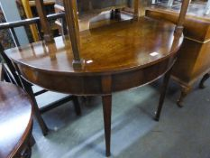 NINETEENTH CENTURY MAHOGANY DEMI-LUNE LARGE SIDE TABLE, RAISED ON SQUARE FLUTED SUPPORTS