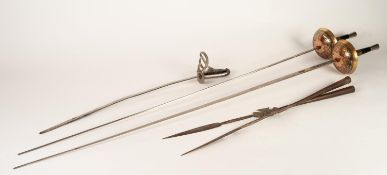 PAIR OF MIDDLE EASTERN CEREMONIAL STEEL SPEAR OR LANCE HEADS, 21 ½? (54.6cm) long, together with a