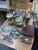 SELECTION OF PLATED WARE VARIOUS TO INCLUDE; TEA SET OF FOUR PIECES, SMALL ROSE BOWL WITH GRILLE,