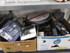 CONTENTS OF TWO BOXES TO INCLUDE; VARIOUS ITEMS AS NEW, TAKING CALLER ID, BOXED, B-B-Q GRILL,