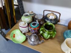 TWO WADE POTTERY PORT AND SHERRY BARRELS, NINETEENTH CENTURY DRAB WARE AND SILVER LUSTRE TEAPOT,