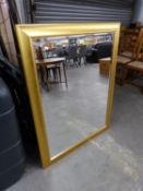 "A LARGE OBLONG BEVELLED EDGE WALL MIRROR, IN CAVETTO GILT FRAME, 3'10""  WIDE OVERALL"